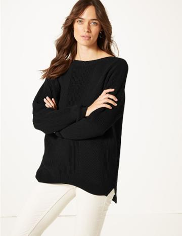 Marks & Spencer Pure Cotton Cable Knit Slash Neck Jumper Black