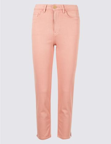 Marks & Spencer Sculpt & Lift Roma Rise Cropped Jeans Soft Pink