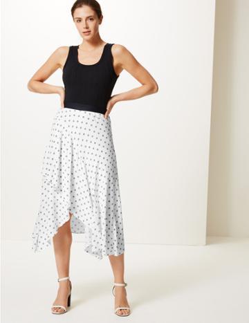 Marks & Spencer Floral Print Wrap Midi Skirt Soft White