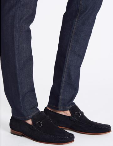 Marks & Spencer Suede Snaffle Loafers With Stain Resistant Navy