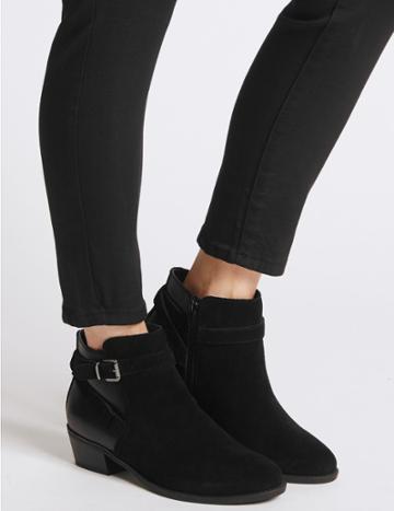 Marks & Spencer Wide Fit Suede Block Heel Ankle Boots Black Mix