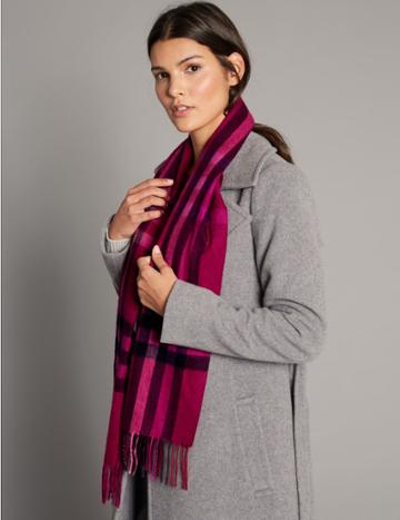 Marks & Spencer Pure Cashmere Checked Scarf Pink Mix