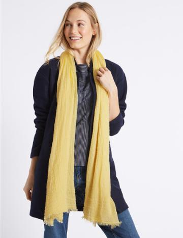 Marks & Spencer Crinkle Scarf Yellow