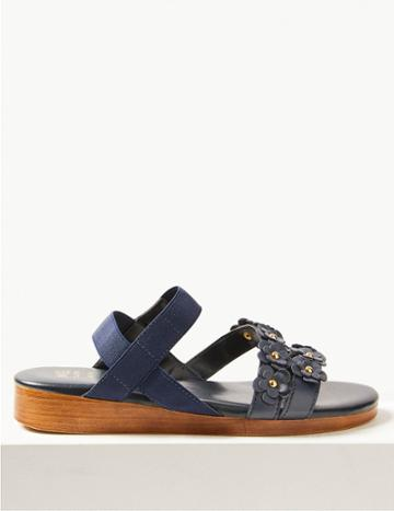 Marks & Spencer Leather Two Band Sandals Navy