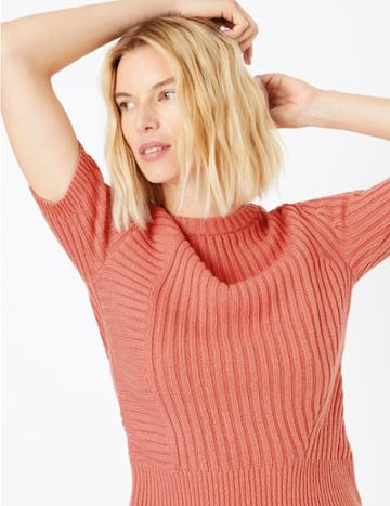 Marks & Spencer Cotton Ribbed Knitted T-shirt Cinnamon Blush