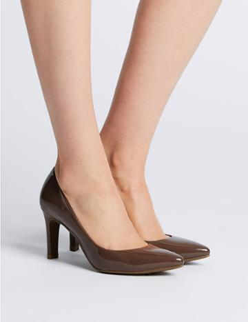 Marks & Spencer Stiletto Heel Pointed Skin Tone Court Shoes Dark Taupe