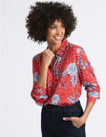 Marks & Spencer Pure Modal Floral Print Long Sleeve Shirt Red Mix