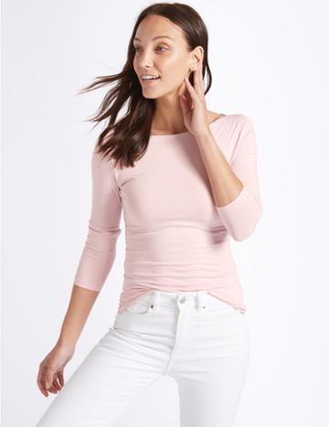 Marks & Spencer Cotton Stretch Slash Neck 3/4 Sleeve T-shirt Blush