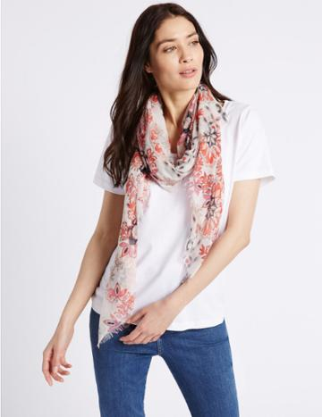 Marks & Spencer Nautical Tile Floral Print Scarf Cream Mix