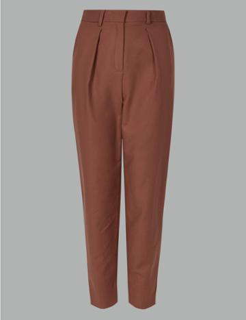 Marks & Spencer Cotton Rich Tapered Leg Peg Trousers Burnt Sienna