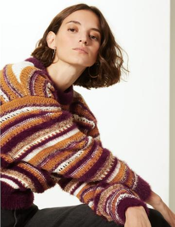 Marks & Spencer Striped Round Neck Jumper Multi