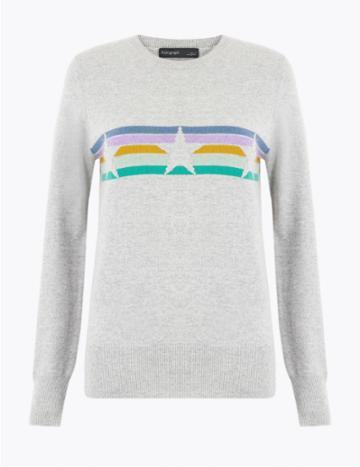 Marks & Spencer Pure Cashmere Star Striped Jumper Light Grey Mix