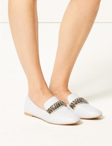Marks & Spencer Jewel Trim Square Toe Loafers White