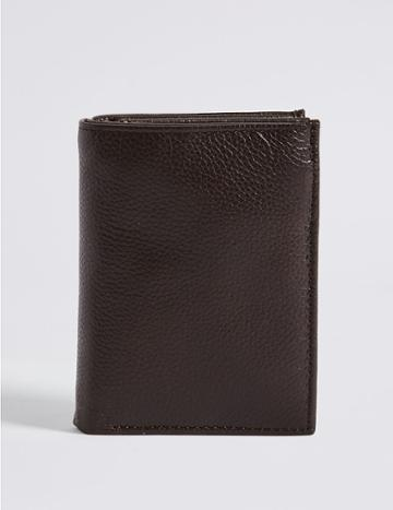 Marks & Spencer Leather Slim Tri Fold Id Wallet With Cardsafe™ Brown