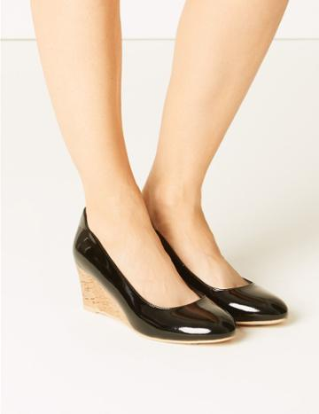 Marks & Spencer Leather Wide Fit Wedge Heel Court Shoes Black Patent