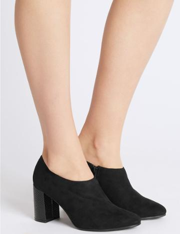 Marks & Spencer Block Heel Side Zip Shoe Boots With Insolia® Black