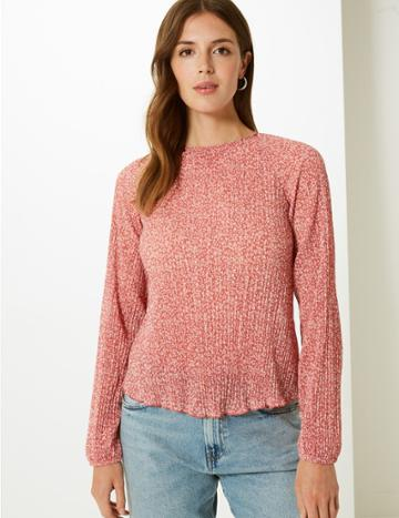 Marks & Spencer Floral Print Sheer Round Neck Blouse Terracotta Mix