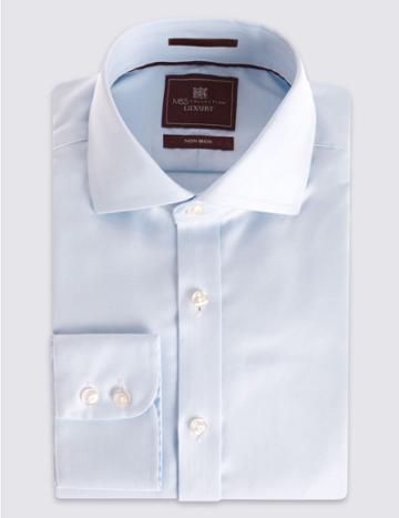 Marks & Spencer Pure Cotton Twill Regular Fit Shirt Sky