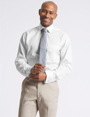 Marks & Spencer Pure Cotton Non-iron Twill Tailored Fit Shirt White
