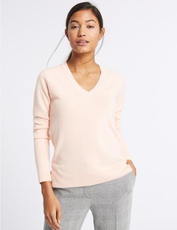 Marks & Spencer V-neck Jumper Blush