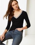Marks & Spencer V-neck Long Sleeve Top Black