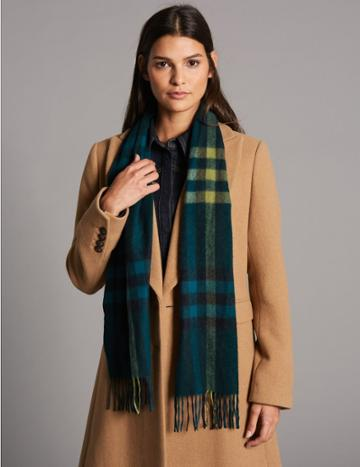 Marks & Spencer Pure Cashmere Checked Scarf Green Mix