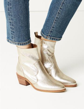Marks & Spencer Leather Western Boots Metallic