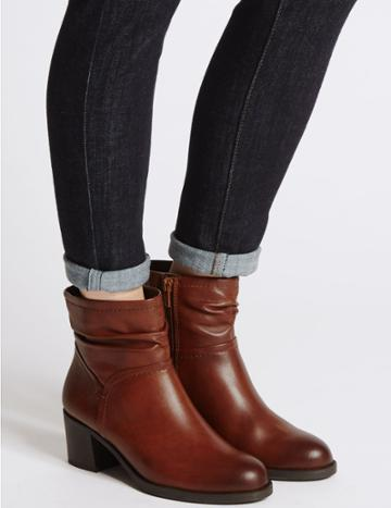 Marks & Spencer Wide Fit Leather Ruched Ankle Boots Tan