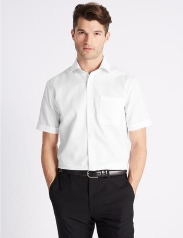 Marks & Spencer Short Sleeve Non-iron Twill Tailored Fit Shirt White