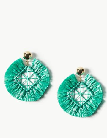 Marks & Spencer Raffia Shapes Drop Earrings Turquoise