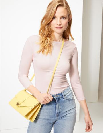 Marks & Spencer Cotton Rich Slash Neck 3/4 Sleeve T-shirt Blush