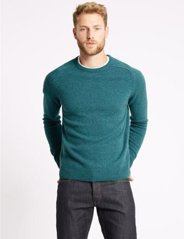 Marks & Spencer Pure Extra Fine Lambswool Crew Neck Jumper Soft Teal