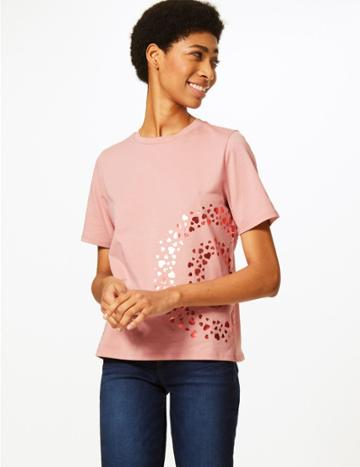 Marks & Spencer Fashion Targets The Target Cotton T-shirt Pink Mix