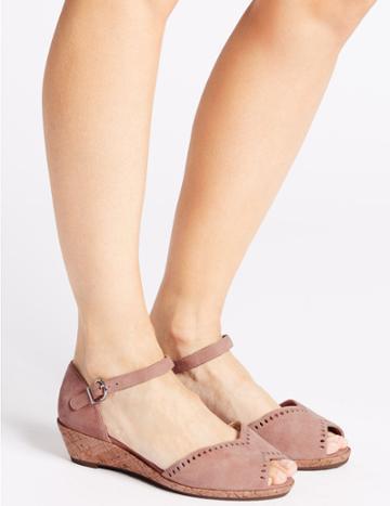 Marks & Spencer Wide Fit Suede 2 Part Wedge Sandals Pink