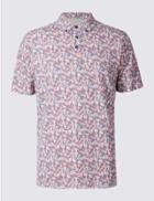 Marks & Spencer Pure Cotton Printed Polo Shirt Coral Mix