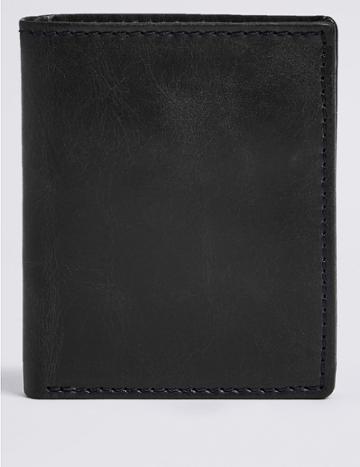 Marks & Spencer Leather Bi Fold Wallet Navy