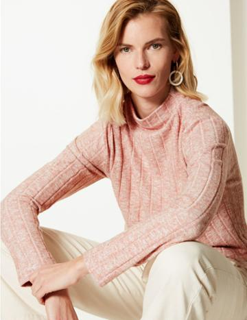Marks & Spencer Textured High Neck Regular Fit Sweatshirt Melba Blush