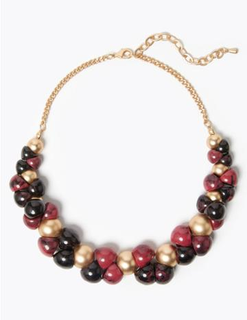 Marks & Spencer Beaded Necklace Purple Mix