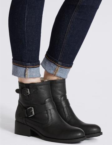 Marks & Spencer Block Heel Biker Ankle Boots Black