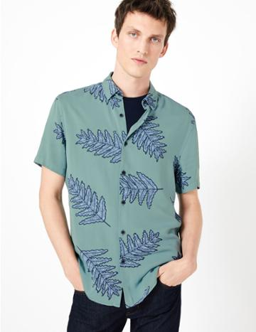 Marks & Spencer Cotton Leaf Print Shirt Teal