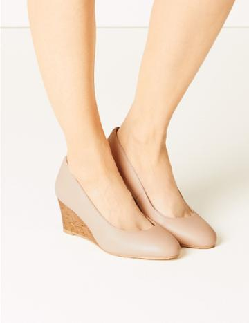 Marks & Spencer Leather Wide Fit Wedge Heel Court Shoes Nude