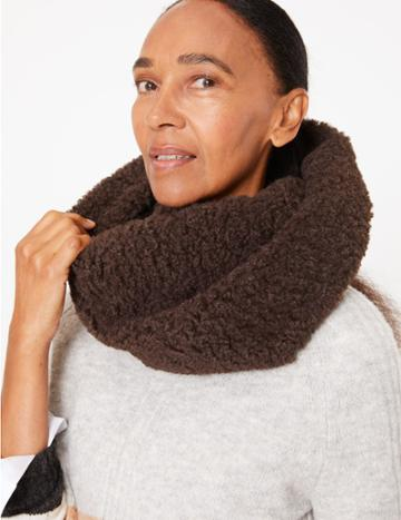 Marks & Spencer Faux Fur & Knit Snood Chocolate
