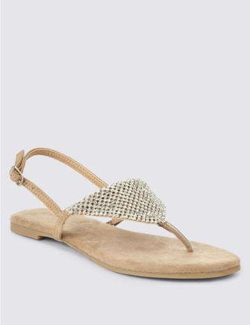 Marks & Spencer Buckle Chain Mail Sandals Natural