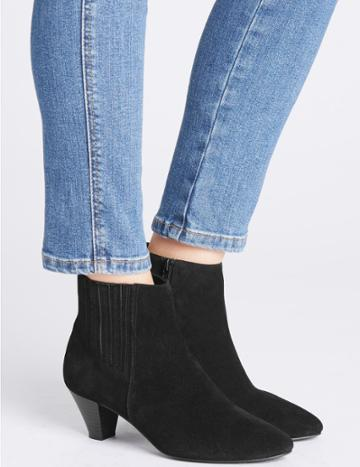 Marks & Spencer Covered Elastic Ankle Boots Black
