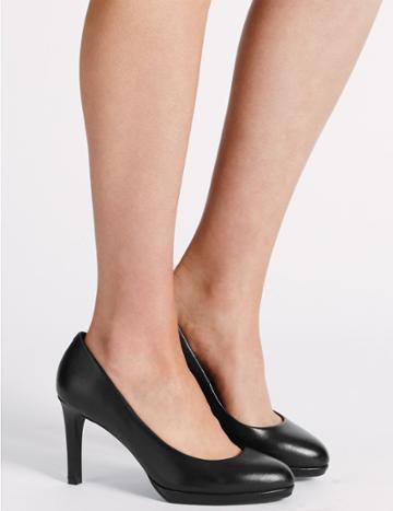 Marks & Spencer Wide Fit Stiletto Platform Court Shoes Black