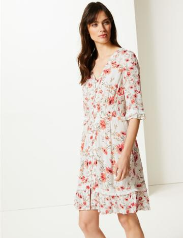 Marks & Spencer Floral Print 3/4 Sleeve Fit & Flare Dress Ivory Mix