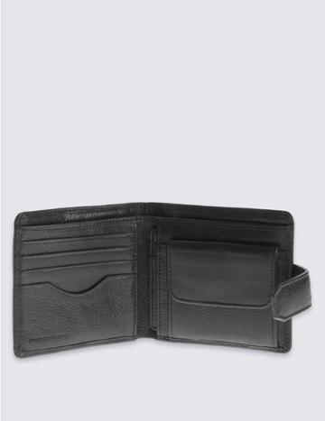 Marks & Spencer Leather Classic Bi Fold Coin Wallet With Cardsafe™ Black