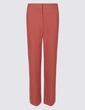 Marks & Spencer Button Detail Straight Leg Cropped Trousers Medium Pink