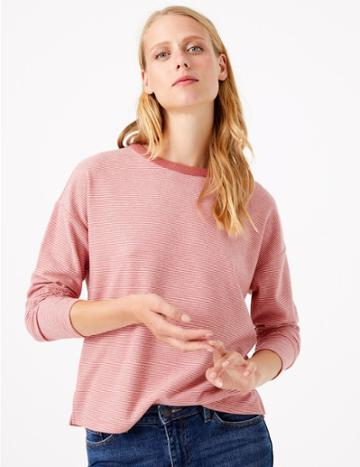 Marks & Spencer Striped Crew Neck Long Sleeve Top Cinnamon Blush