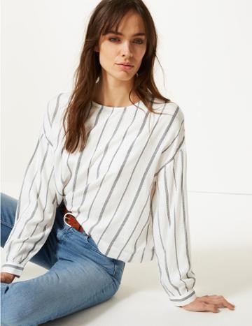 Marks & Spencer Striped Round Neck Long Sleeve Blouse White Mix